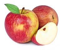 Κόκκινο μήλο που απομονώνεται στην άσπρη ανασκόπηση Στοκ Φωτογραφία