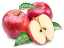 Κόκκινο μήλο με το φύλλο και τη φέτα. Στοκ Εικόνα