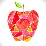 Κόκκινο μήλο μωσαϊκών Watercolor όμορφο διανυσματική απεικόνιση