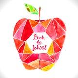 Κόκκινο μήλο μωσαϊκών Watercolor όμορφο απεικόνιση αποθεμάτων