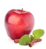 Κόκκινο μήλο, ραβδιά κανέλας και ζωή φύλλων μεντών ακόμα Στοκ φωτογραφία με δικαίωμα ελεύθερης χρήσης