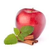 Κόκκινο μήλο, ραβδιά κανέλας και ζωή φύλλων μεντών ακόμα Στοκ Εικόνες