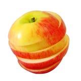 Κόκκινο μήλο φωτογραφικών διαφανειών στη φέτα βημάτων Στοκ φωτογραφία με δικαίωμα ελεύθερης χρήσης