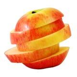 Κόκκινο μήλο φωτογραφικών διαφανειών στη φέτα βημάτων Στοκ Εικόνα