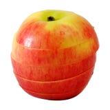 Κόκκινο μήλο φωτογραφικών διαφανειών στη φέτα βημάτων Στοκ Φωτογραφία