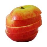 Κόκκινο μήλο φωτογραφικών διαφανειών στη φέτα βημάτων Στοκ φωτογραφίες με δικαίωμα ελεύθερης χρήσης