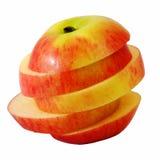 Κόκκινο μήλο φωτογραφικών διαφανειών στη φέτα βημάτων Στοκ εικόνες με δικαίωμα ελεύθερης χρήσης