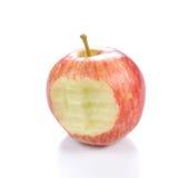 Κόκκινο μήλο Apple με το δάγκωμα στο άσπρο υπόβαθρο Στοκ εικόνες με δικαίωμα ελεύθερης χρήσης