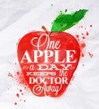 Κόκκινο μήλων φρούτων αφισών Στοκ εικόνα με δικαίωμα ελεύθερης χρήσης