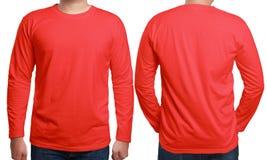Κόκκινο μακρύ Sleeved πρότυπο σχεδίου πουκάμισων Στοκ Φωτογραφίες