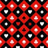 Κόκκινο μαύρο άσπρο υπόβαθρο πινάκων σκακιού κοστουμιών καρτών απεικόνιση αποθεμάτων