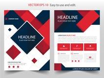 Κόκκινο μαύρο αφηρημένο τετραγωνικό διάνυσμα προτύπων σχεδίου φυλλάδιων ετήσια εκθέσεων Infographic αφίσα περιοδικών επιχειρησιακ διανυσματική απεικόνιση