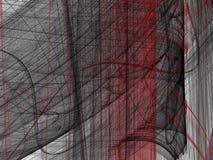 Κόκκινο μαύρο αφηρημένο fractal με τις κυρτές γραμμές Στοκ εικόνες με δικαίωμα ελεύθερης χρήσης