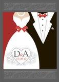 Κόκκινο μαύρο λευκό γαμήλιας πρόσκλησης νυφών και νεόνυμφων διανυσματική απεικόνιση