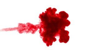 Κόκκινο μελάνι στο νερό στο άσπρο υπόβαθρο τρισδιάστατο μελάνι ζωτικότητας με τη μεταλλίνη luma ως άλφα κανάλι για τα αποτελέσματ διανυσματική απεικόνιση