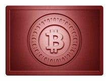 Κόκκινο μεταλλικό πιάτο Bitcoin Στοκ Φωτογραφίες