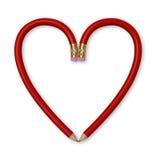 κόκκινο μολυβιών καρδιών Στοκ φωτογραφία με δικαίωμα ελεύθερης χρήσης