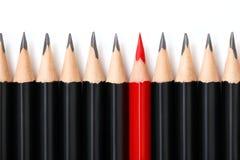 Κόκκινο μολύβι που ξεχωρίζει από το πλήθος Στοκ φωτογραφίες με δικαίωμα ελεύθερης χρήσης