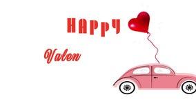 Κόκκινο μπαλόνι καρδιών που συνδέεται με ένα ρόδινο παλαιό ορισμένο αυτοκίνητο φιλμ μικρού μήκους