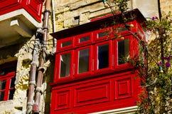 Κόκκινο μπαλκόνι - Valletta, Μάλτα Στοκ Φωτογραφίες