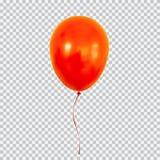 Κόκκινο μπαλόνι ηλίου που απομονώνεται στο διαφανές υπόβαθρο Στοκ Εικόνα