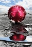 Κόκκινο μπιχλιμπίδι Χριστουγέννων στην υγρή πλάκα στοκ φωτογραφία με δικαίωμα ελεύθερης χρήσης