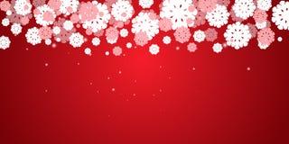 Κόκκινο νέο υπόβαθρο Χριστουγέννων έτους ` s με snowflakes τα σύνορα ξέν. διανυσματική απεικόνιση
