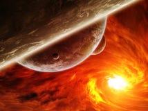 Κόκκινο νεφέλωμα στο διάστημα με το πλανήτη Γη απεικόνιση αποθεμάτων