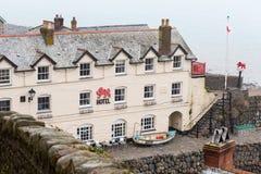 Κόκκινο ξενοδοχείο λιονταριών, Clovelly, Devon στοκ φωτογραφίες