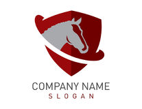 Κόκκινο λογότυπο ασπίδων αλόγων Στοκ Φωτογραφίες