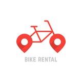 Κόκκινο λογότυπο ενοικίου ποδηλάτων με την καρφίτσα χαρτών διανυσματική απεικόνιση