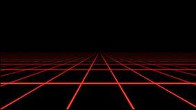 Κόκκινο ολογραφικό στοιχείο κινήσεων πατωμάτων πλέγματος Tron απόθεμα βίντεο