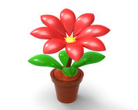 Κόκκινο λουλούδι τρισδιάστατο Στοκ φωτογραφία με δικαίωμα ελεύθερης χρήσης