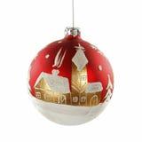 Κόκκινο παιχνίδι σφαιρών Χριστουγέννων στην άσπρη ανασκόπηση στοκ εικόνα