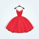 Κόκκινο πανέμορφο φόρεμα κομμάτων επίσης corel σύρετε το διάνυσμα απεικόνισης Στοκ εικόνα με δικαίωμα ελεύθερης χρήσης