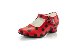 Κόκκινο παπούτσι με τα μαύρα σημεία Στοκ Εικόνες