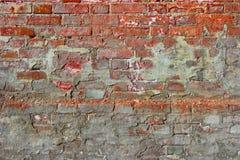 Κόκκινο παλαιό βρώμικο υπόβαθρο τουβλότοιχος Παλαιός χαλασμένος τουβλότοιχος με το ασβεστοκονίαμα Στοκ φωτογραφία με δικαίωμα ελεύθερης χρήσης