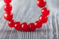 Κόκκινο περιδέραιο μούρων Χάντρα μούρων Viburnum, γιρλάντα Στοκ Εικόνες