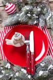Κόκκινο πιάτο, διακοσμητικό πουλί, μαχαίρι και δίκρανο, πετσέτα και σφαίρα Στοκ εικόνες με δικαίωμα ελεύθερης χρήσης
