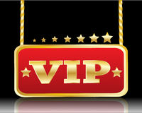 Κόκκινο πιάτο με την εικόνα των αστεριών και του VIP λέξεων Στοκ Φωτογραφία