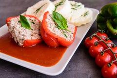 Κόκκινο πιπέρι που γεμίζεται με το ρύζι, τον κιμά και το λαχανικό στο tomat Στοκ Φωτογραφίες