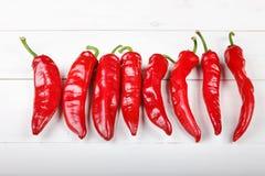 Κόκκινο πιπέρι τσίλι που βρίσκεται σε μια σειρά Στοκ φωτογραφία με δικαίωμα ελεύθερης χρήσης