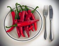κόκκινο πιπεριών πιάτων Στοκ φωτογραφίες με δικαίωμα ελεύθερης χρήσης