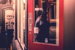 Κόκκινο πλαίσιο με τους ανθρώπους πόλη Κεμπέκ Στοκ εικόνα με δικαίωμα ελεύθερης χρήσης