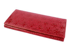 Κόκκινο πορτοφόλι σε ένα άσπρο υπόβαθρο Στοκ εικόνα με δικαίωμα ελεύθερης χρήσης