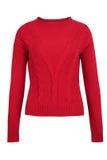 Κόκκινο πουλόβερ καλωδίων κασμιριού ή μαλλιού Στοκ Φωτογραφίες