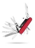 Κόκκινο πολυ-εργαλείο μαχαιριών στρατού Στοκ Φωτογραφία
