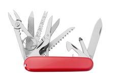 Κόκκινο πολυ-εργαλείο μαχαιριών στρατού Στοκ Εικόνες