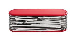 Κόκκινο πολυ-εργαλείο μαχαιριών στρατού Στοκ Φωτογραφίες