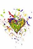 Κόκκινο πράσινο μπλε κίτρινο χρώμα που γίνεται την καρδιά Στοκ φωτογραφίες με δικαίωμα ελεύθερης χρήσης